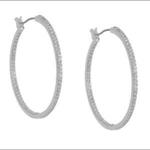 Chloe + Isabel silver pave hoop earrings